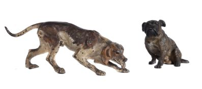 A cold-painted bronze model of a hound