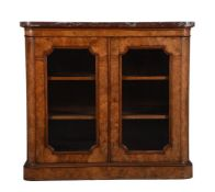 Y A graduated pair of Victorian walnut and tulipwood banded side cabinets