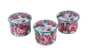 Three Wemyss (Griselda Hill) biscuit jars and covers
