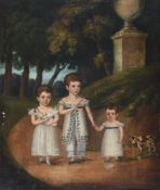 S. Woodhouse (19th century), Portrait of a three children, playing with their toys