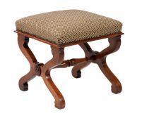 A George IV mahogany and upholstered X-frame stool