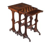 Y A nest of three William IV rosewood occasional tables