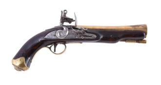 A British Flintlock brass-barrelled blunderbuss pistol