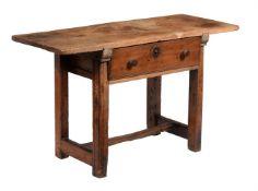 A Spanish walnut and oak side table