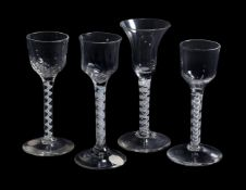 Four various opaque-twist wine glasses