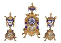 A French Sevres-style porcelain and gilt-metal mounted clock garniture