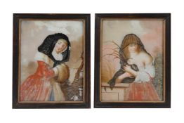 A pair of reverse painted glass paintings