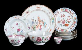 A group of Chinese Famille Rose plates