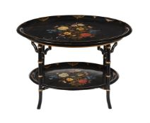 Y A Victorian painted and mother of pearl inset papier mache two tier table