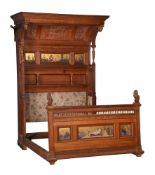 A suite of oak Aesthetic movement bedroom furniture