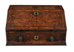 A George I walnut and feather banded travelling writing box