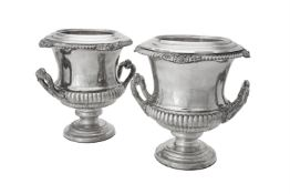 A pair of electro-plated campana urn shaped wine coolers