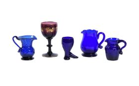 A selection of English coloured glass