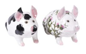 Two similar Wemyss pottery (Griselda Hill) models of large pigs