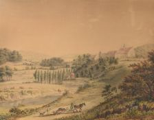German School (18th century), Returning from the hunt, Derneburg landscape