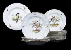 Fourteen similar Meissen ornithological plates