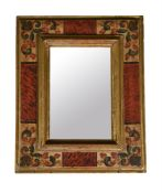 A painted wood wall mirror in Continental 18th century style