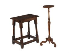 An oak joint stool or stand in late 17th century style