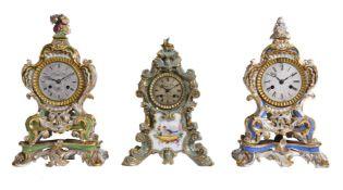 Two similar Paris porcelain clock cases