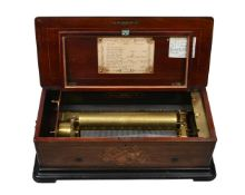 Y A Swiss rosewood and tulipwood banded musical box