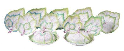 A German porcelain composite leaf-shaped part dessert service