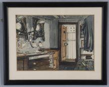 λ Claude Muncaster (1903-1974), Sailing ship cabin interior and another