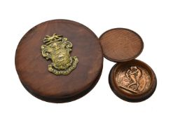 A walnut and gilt metal mounted snuff box