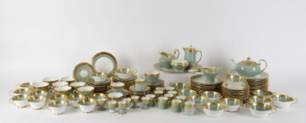 An Aynsley Berkeley porcelain service in Nile green