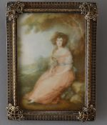 Y 'RB' after George Romney - a portrait miniature of Miss Martindale
