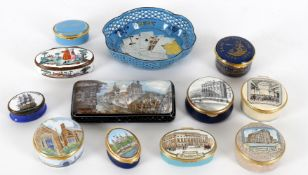 Boxes to include a 19th century German enamel oval snuff box