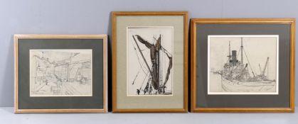 λ Claude Muncaster (1903-1974), 'Study of a steamer's deck- Swift London 1923'