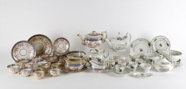 Early 19th century English teaware to include a Chamberlain's Worcester spirally moulded part tea an