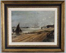 λ Claude Muncaster (1903-1974), View of a port with frigate/barque and shipping