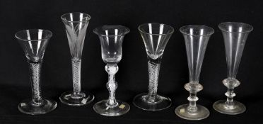 18th century wine glasses including an air twist ale glass