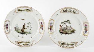 A rare pair of 18th century Royal Copenhagen plates from the 'Fuglestellet' or bird service
