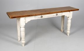 A Victorian and later oak and cream painted narrow hall or preparation table