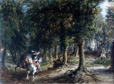 WD late 19th century English School, 'Royalist flight in the forest'