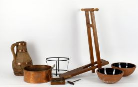 Domestic household ware including a late Victorian mahogany and beech bootjack