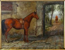 Follower of Harry Hall, 'Saddling for the hunt'