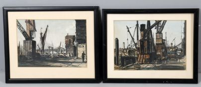 λ Claude Muncaster (1903-1974), Cranes at Hayes Wharf and another