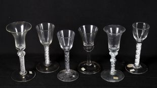 Late 18th century wine glasses including an air twist wine glass with bell bowl