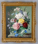 Robert Dumont-Smith (British, 1908- 1994), 'Still life of flowers in a glass vase'
