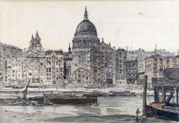 λ Claude Muncaster (1903-1974), View from the Thames with St Paul's beyond