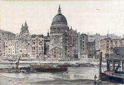 λ Claude Muncaster (1903-1974), View from the Thames with St Paul's beyond