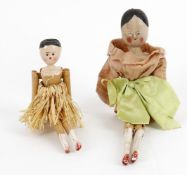 Two part painted softwood peg dolls