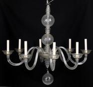 A glass eight light chandelier