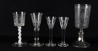 Glassware to include a mid-18th century continental goblet