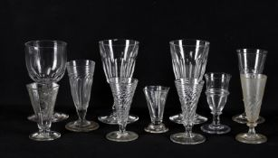 Assorted glasses to include early 19th century jelly glass