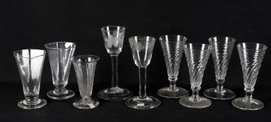 18th century wine glasses including a plain stemmed wine glass