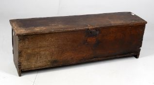A 17th century oak six plank coffer or 'sword chest'